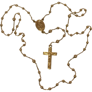 14k Yellow Gold Rosary with White Satin Case~ 10.9 grams