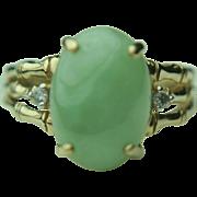 10k Solid Gold Green Jade & Diamond Fine Ring