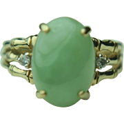 10k Gold Oval Green Jade & Diamond Ring~ Size 6