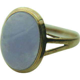 14k Gold Oval Purple Jade Ring~ Size 7.25
