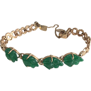 18k Yellow Gold & Green Jade Frog Bracelet