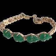 18k Yellow Gold & Green Jade Frog Bracelet