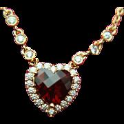 Albert David 14k Solid Gold Garnet & Diamond Heart Necklace - ADPG High End Designer
