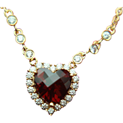 Albert David 14k Solid Gold Garnet & Diamond Heart Necklace - ADPG High End Designer