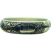Sterling Silver Siam Thai Hinged Bracelet & Blue Enamel