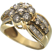 14K Solid Gold & 2.00+ TCW Diamond Cluster Ring
