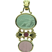 Tagliamonte Classic Collection 14k Solid Gold & Ruby Venetian Glass Pendant with two Venetian Glass Medallions