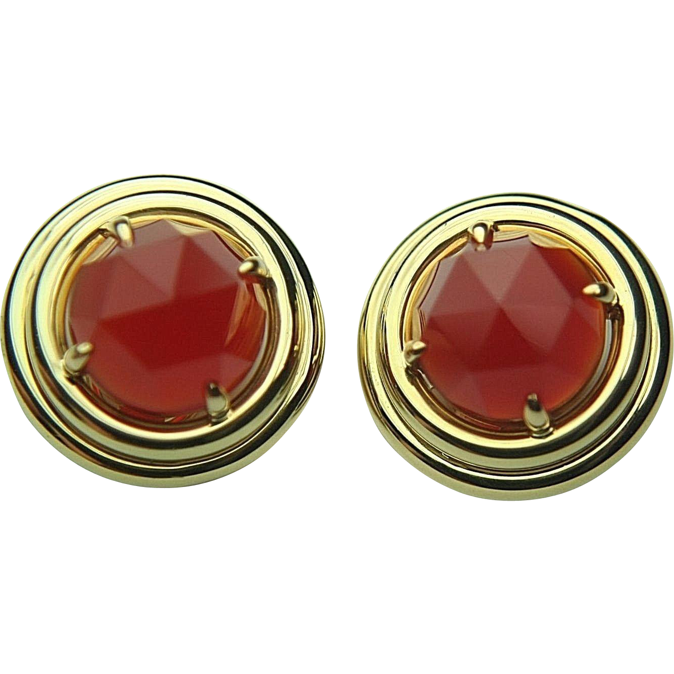 Vintage SF GUMPS 18k Solid Gold & Faceted Carnelian Earrings