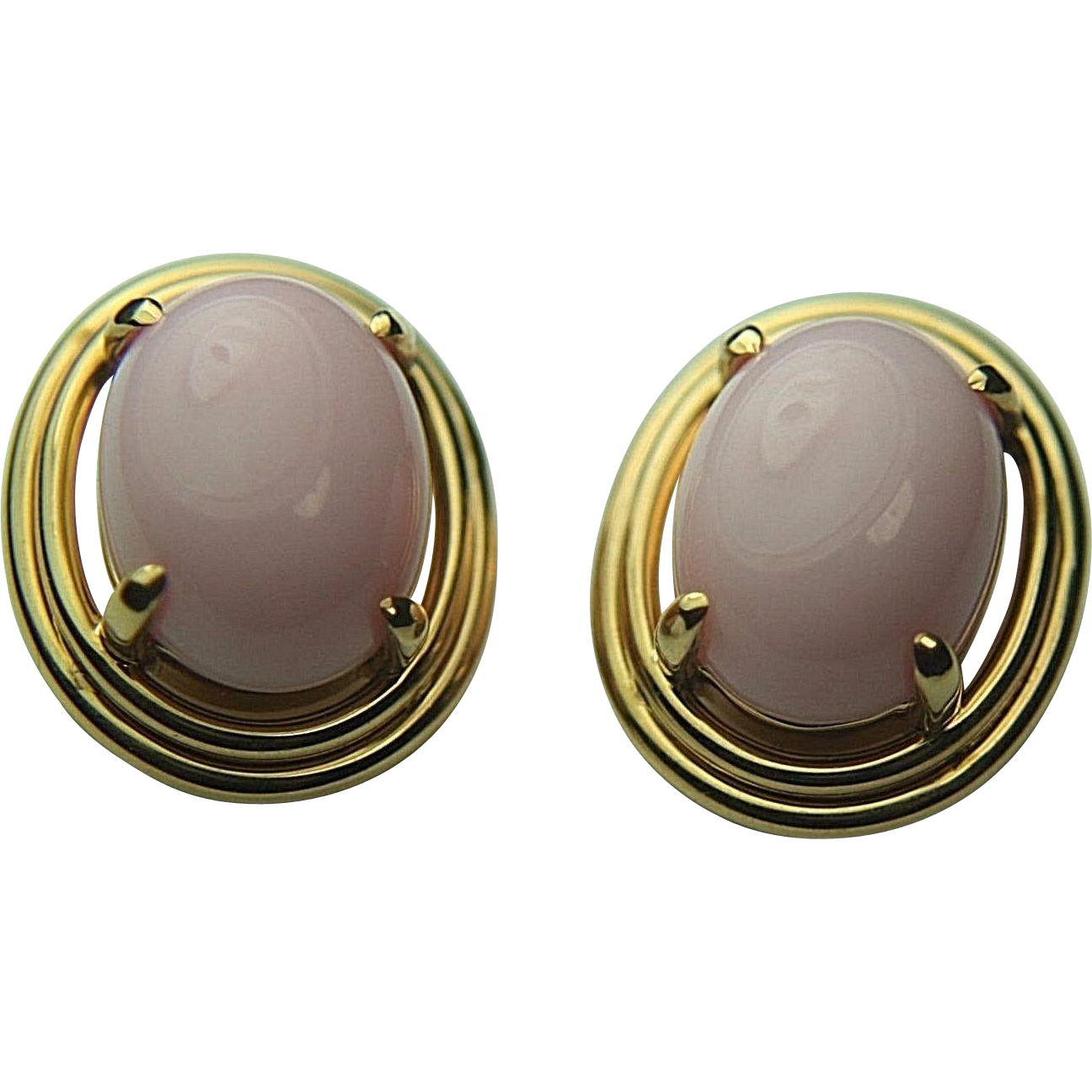 Vintage SF GUMPS 18k Solid Gold & Rose Pink Coral Cabochon Earrings