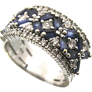 14K Solid White Gold Diamond & Blue Sapphire Ring