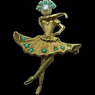 Vintage CHERNY 18k Solid Gold Dancing Ballerina - Legs Move! Excellent Condition