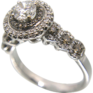 14k White Gold Halo Chocolate and White Diamond Engagement Ring 1.55 TCW