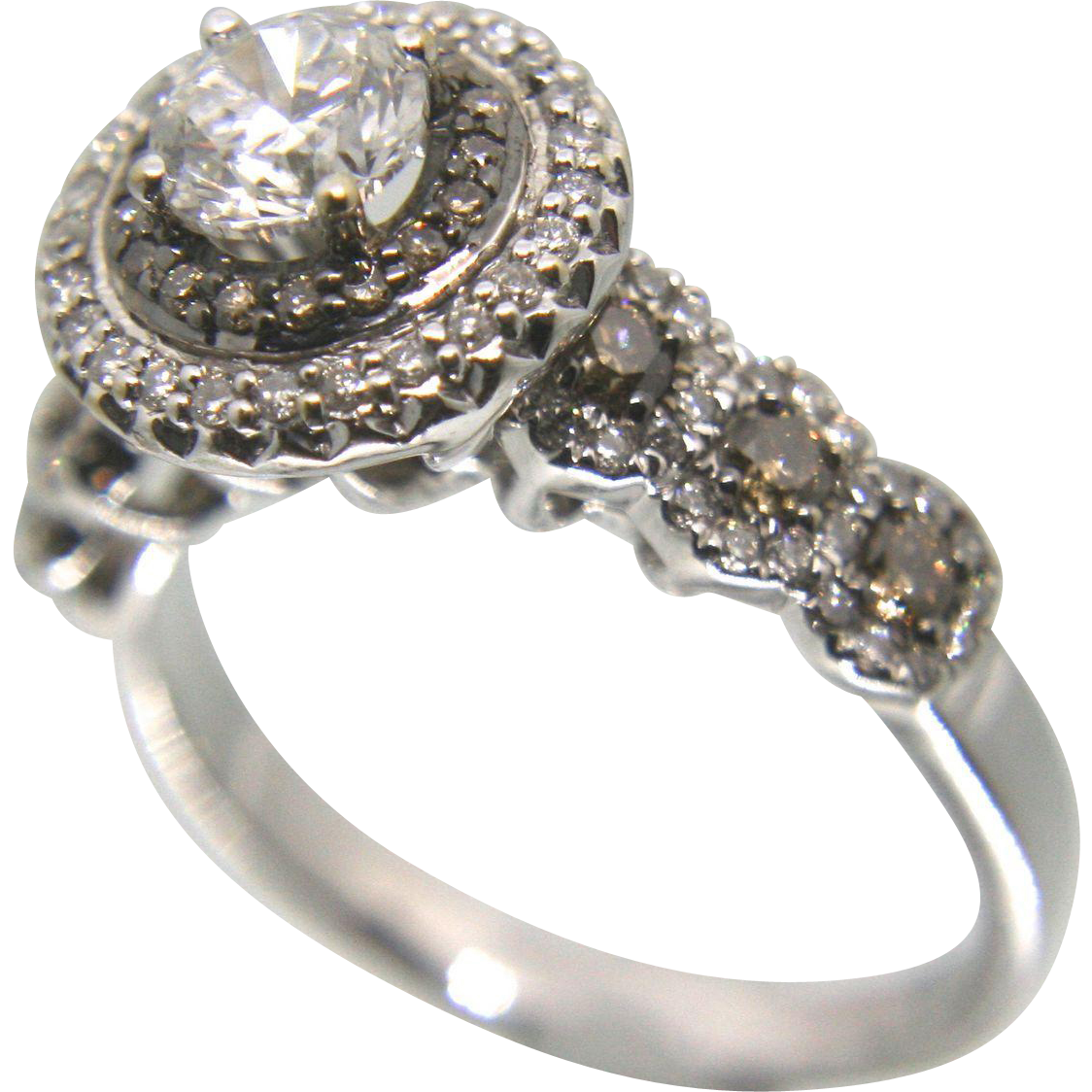 14k White Gold Halo Chocolate and White Diamond Engagement Ring 1.55 TCW
