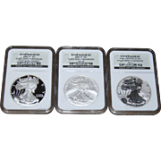 2006 American Silver Eagle 20th Anniversary 3 Coin Set - NGC 69