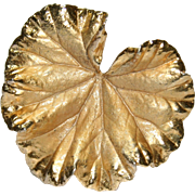 Vintage Napier Sterling Silver Gold Washed Leaf Clip Brooch