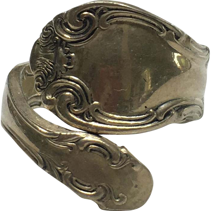 Vintage Alvin Sterling French Scroll Spoon Ring