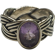 Vintage Sterling Silver Pandora Tied Together Amethyst Ring