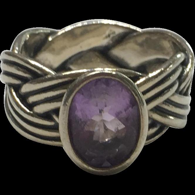 Vintage Sterling Silver Pandora Tied Together Amethyst Ring