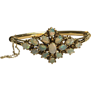 14k Gold and Opal Hinged Bracelet