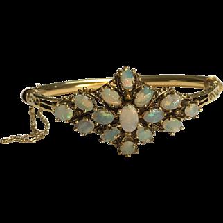 14k Gold and Opal Hinged Bracelet