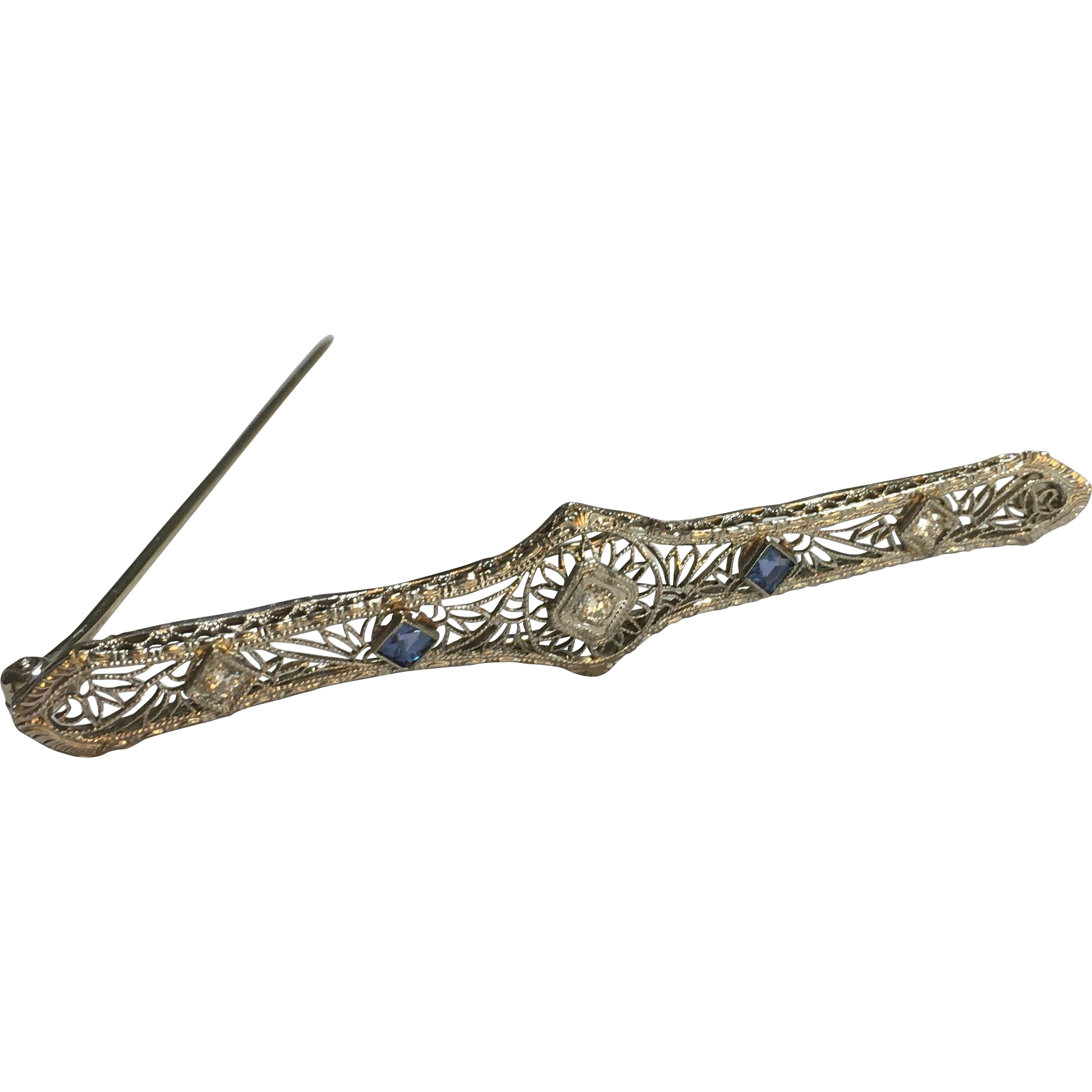 14k White Gold Diamond and Spinel Bar Brooch/ Pin