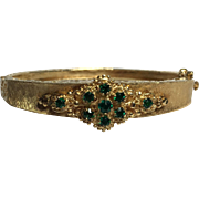 14k Gold Hinged Bracelet with Green Stones