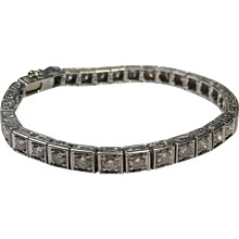 Vintage 4.00 TCW Round Brilliant Diamond Tennis Bracelet on Platinum