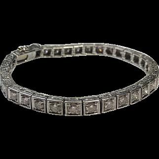Vintage Platinum 4.0 TCW Diamond Tennis Bracelet