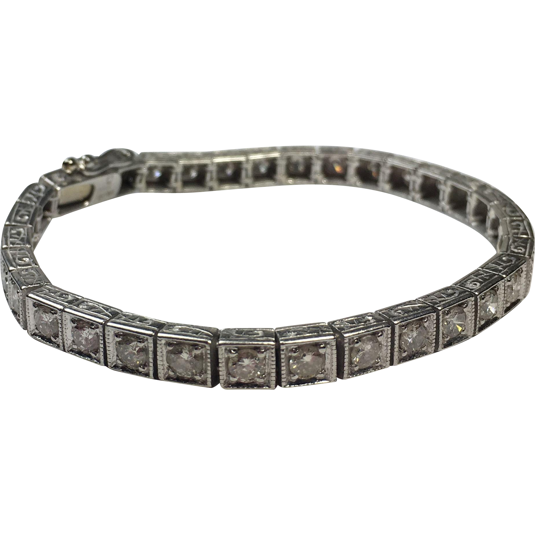 Vintage 4.00 TCW Round Brilliant Diamond Tennis Bracelet on Platinum