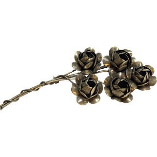 Sterling Silver Craft Coro Flower Bouquet Pin/ Brooch