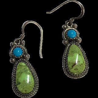 Sterling Navajo Green & Blue Turquoise Running Bear Earrings