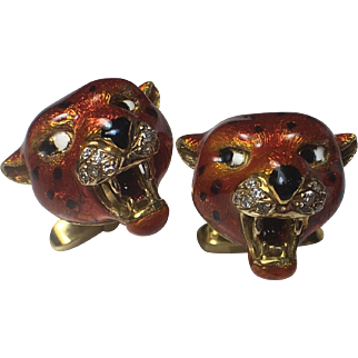 Vintage 18k Solid Gold, Enameled & Diamond Jaguar Cufflinks