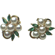 14k Emerald, Diamond & Pearl Pierced Earrings