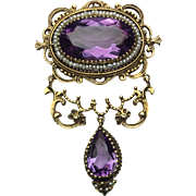 14k Yellow Gold Amethyst Brooch/ Pendant