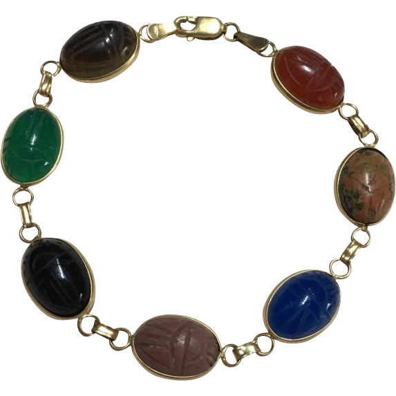 """14k Gold Multi Stone Scarab Bracelet 7.5"""""""