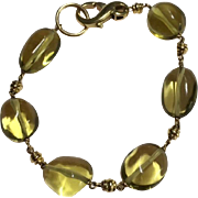14k Solid Yellow Gold And Citrine Bead Bracelet