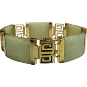 14k Solid Yellow Gold & Jade Bracelet