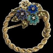 14k Solid Yellow Enamel & Diamond Flower Brooch