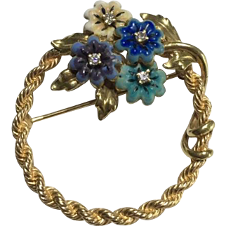 14k Solid Yellow Enamel & Diamond Flower Brooch