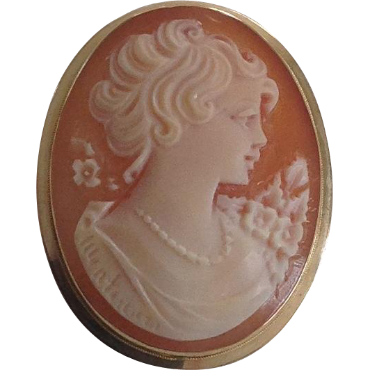 14k Yellow Gold Pink Shell Carved Cameo Pendant/ Brooch / Pin