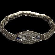 Vintage 14k Solid White Gold Diamond & Sapphire Bracelet