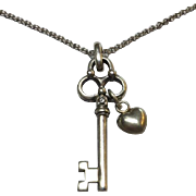 Vintage Sterling Silver Key Pendant with Diamond