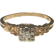Vintage 14k Yellow Gold Diamond Engagement/ Promise Ring