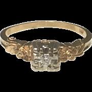 Vintage 14k Yellow Gold Diamond Engagement/ Promise Ring
