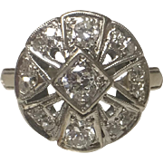 14k White Gold Art Deco Old Euro Diamond Dinner Ring