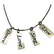 Sterling Silver Carolyn Pollack Relios LIVE, LOVE, DANCE, SING  Dog Tag Necklace