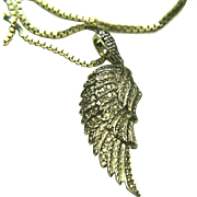 Sterling Silver Angel Wing Pendant with Diamonds