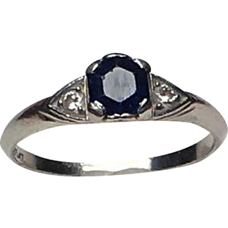 Vintage Platinum Blue Sapphire & Diamond Fine Ring