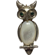 Vintage Sterling Silver Owl Brooch/ Pendant