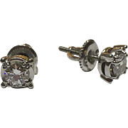 Vintage 18k White Gold Diamond Stud Earrings .70 TCW
